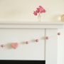 Pink Felted Garland with Pink Hearts