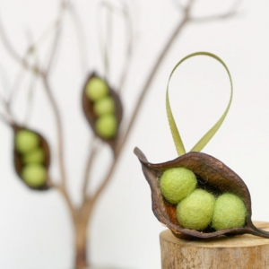 Natural Pea Pod Christmas Ornaments