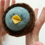 Felted Chick in a Nest