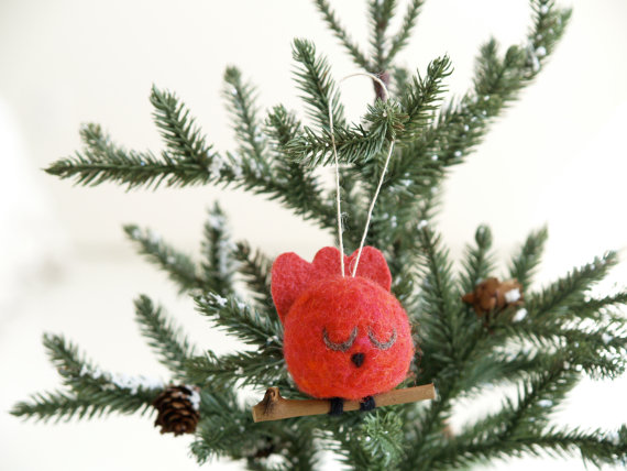 Needle Felted Cardinal Christmas Ornament — The Magic Onions Store