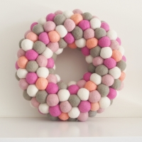 Felted Wreath Coral & Gray photo