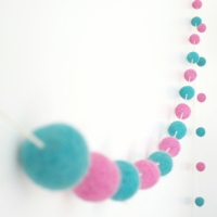 pink & turquoise garland, 8 ft by The Magic Onions
