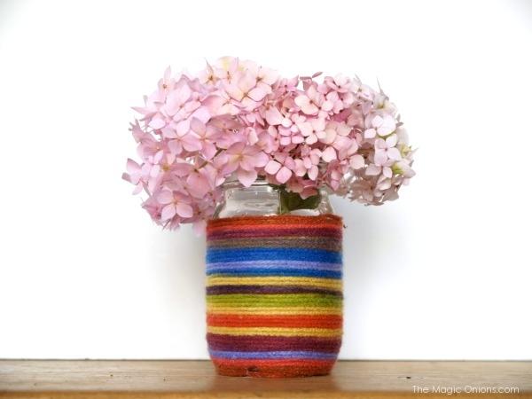 Rainbow Yarn Flower Vase : The Magic Onions : www.theMagicOnions.com