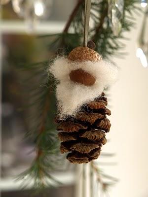 handmade pine cone gnome Christmas ornament
