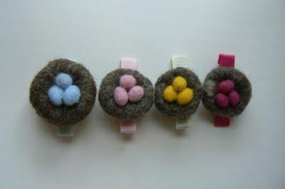 Needle Felting – Nest Barrettes.