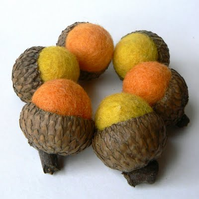 Orange and Yellow Needle Felted Acorns