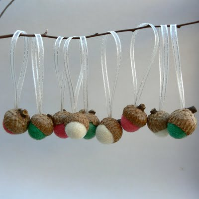 Candy cane felted wool acorn Christmas decorations