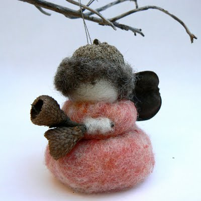 Handmade acorn fairy needle felted wool ornament