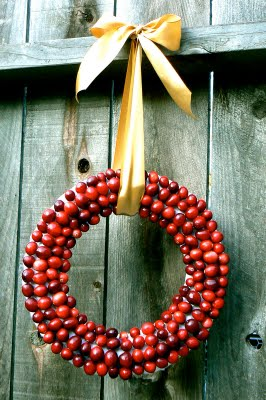 Christmas Cranberry wreath hanging from a gold ribbon