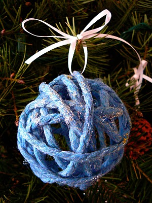 Sparkly handmade yarn ornaments