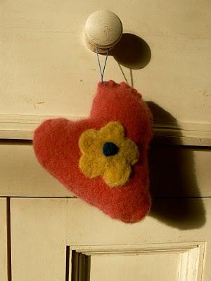 needle felted valentine heart