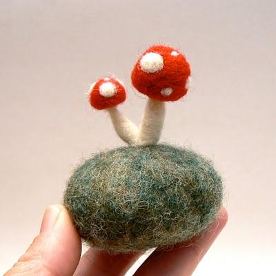 needle felted toadstool