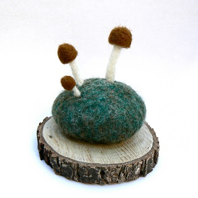 needle felted stone and mushroom