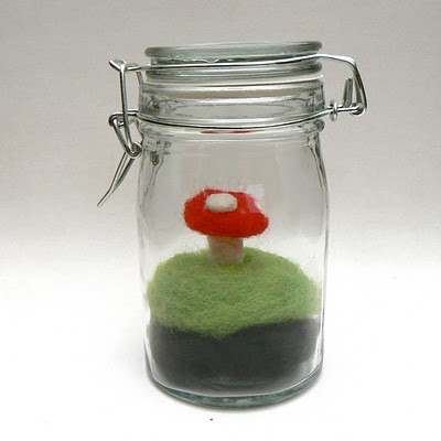 Needle felted toadstool terrarium with moss - waldorf inspired