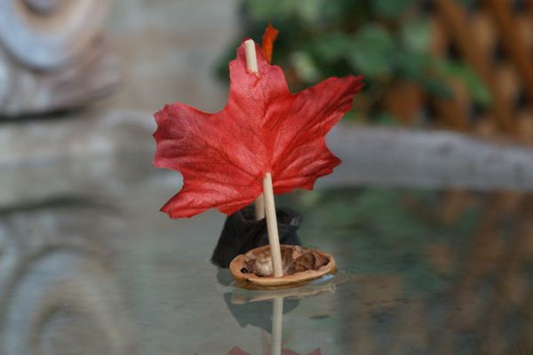 Make a Natural Leaf Boats : www.theMagicOnions.com