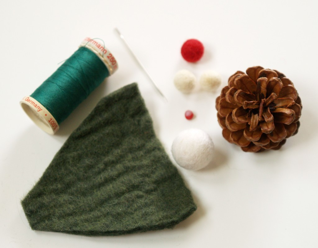 Pine Cone and Felt Gnome Christmas Ornament - The Magic Onions