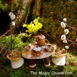 Acorn tea set :: Fairy Garden :: The Magic Onions :: www.theMagicOnions.com