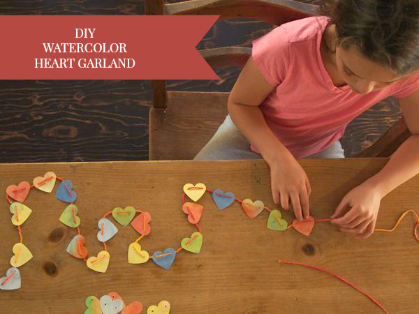 Beautiful watercolor heart garland :: such a lovely thing to do with all the watercolor paintings Waldorf kids bring home from school from The Magic Onions