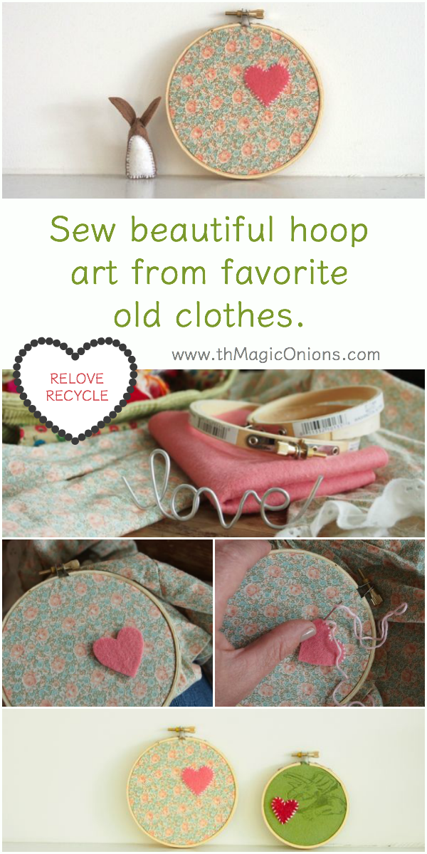 Sew beautiful Hoop Art from favorite BABY CLOTHES : Reuse, recycle, relove from The Magic Onions