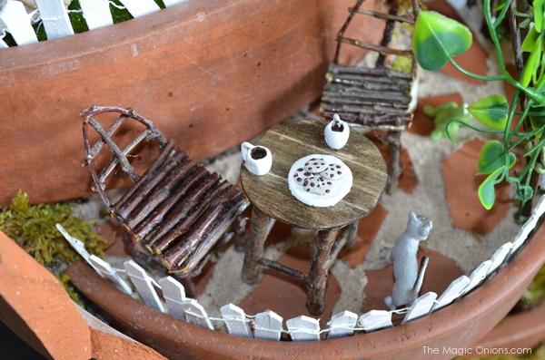 Fairy Garden Stick Furniture : Layered Fairy Garden in a Broken Flowerpot : Fairy Garden : the Magic Onions.com