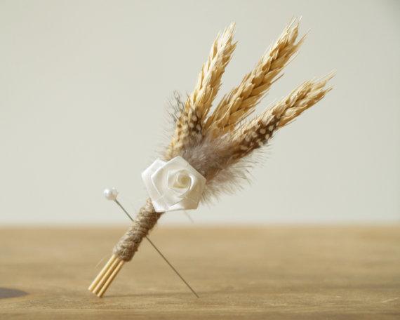 Wheat and Feather Grooms Boutonnieres : Fairyfolk Weddings : www.fairyfolkweddings.etsy.com