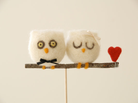 Needle Felted Owl Wedding Cake Topper : Fairyfolk Weddings : www.fairyfolkweddings.etsy.com