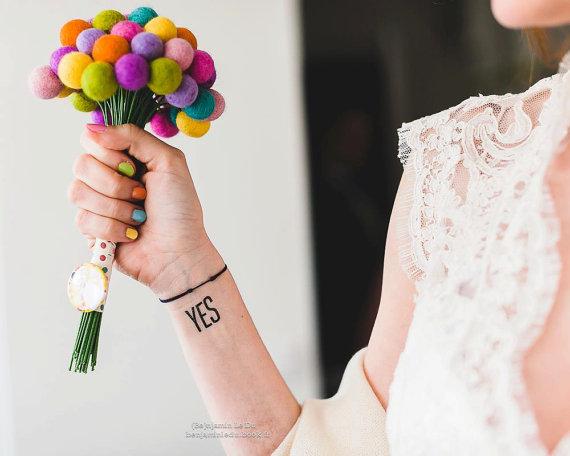 Colorful Craspdeia Felted Flower Bridal Bouquet : Fairyfolk Weddings : www.fairyfolkweddings.etsy.com