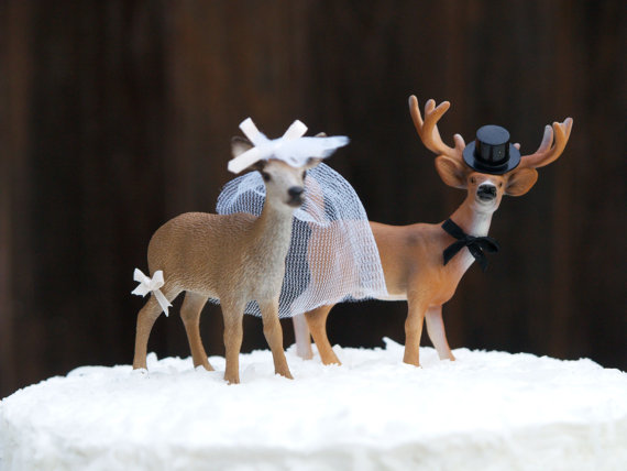 Bride and Groom Deer Wedding Cake Toppers : Fairyfolk Weddings : www.fairyfolkweddings.etsy.com