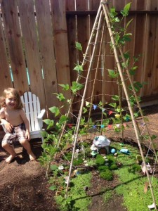 Fairy Garden in a bean teepee : www.theMagicOnions.com