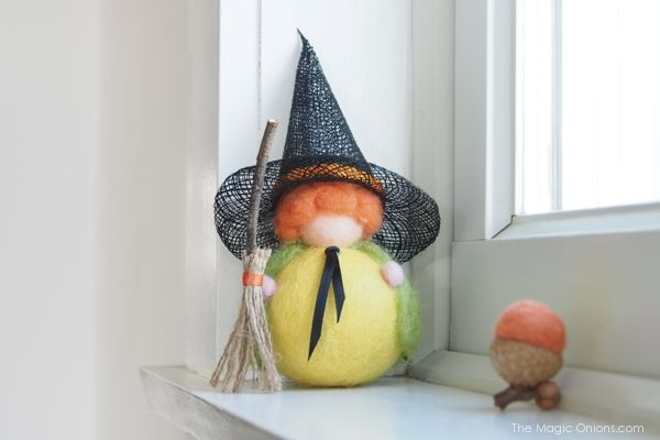 Halloween Pumpkin Witch, Needle Felted : The Magic Onions Shop