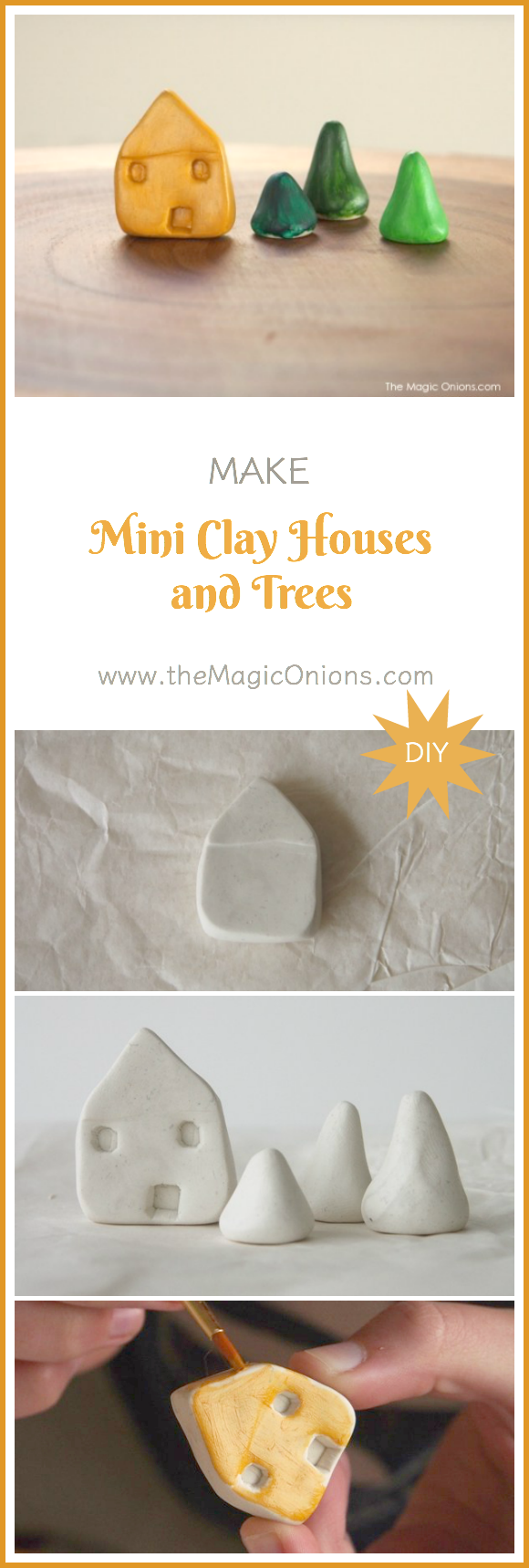Make the most adorable CLAY HOUSES and TREES using Sculpey clay. They look so cute on my windowsill and would be perfect for a FAIRY GARDEN.