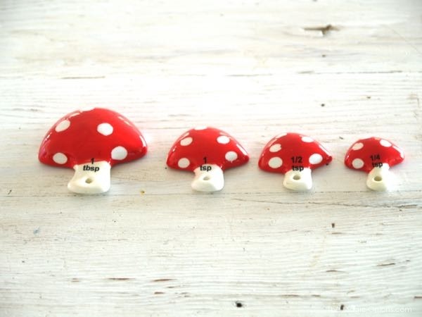 photo of cute toadstool baking measures