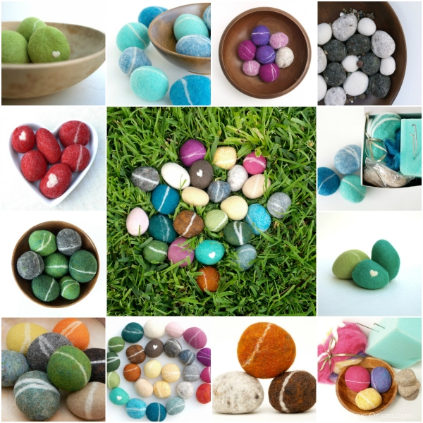 Felted Pebbles for Earth Day