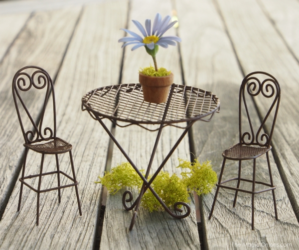 Photo of a Mini Fairy Garden Filigree wire patio set of a table and chairs