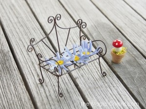 Photo of a Mini Fairy Garden Filigree Wire Bench