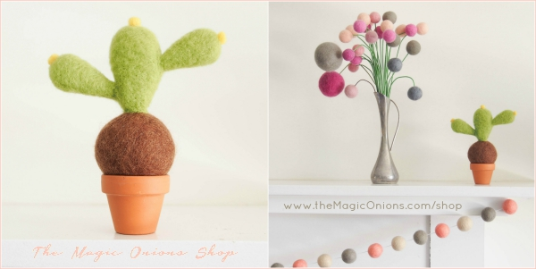 Felted Cactus Succulent from The Magic Onions Shop Photo  www.theMagicOnions.com/shop