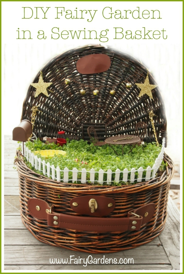 photo of a delightful fairy garden in a suitcase