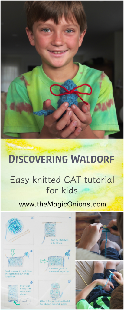 Easy Knitted Cat Tutorial for Kids :: Discovering Waldorf Educations :: www.theMagicOnions.com