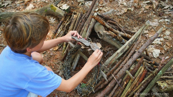 Making a Fairy House in the Woods : www.theMagicOnions.com