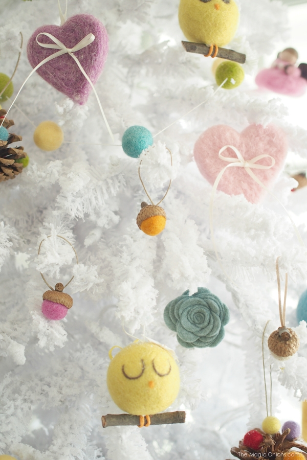 Beautiful Needle Felted Christmas Tree Ornaments : www.theMagicOnions.com