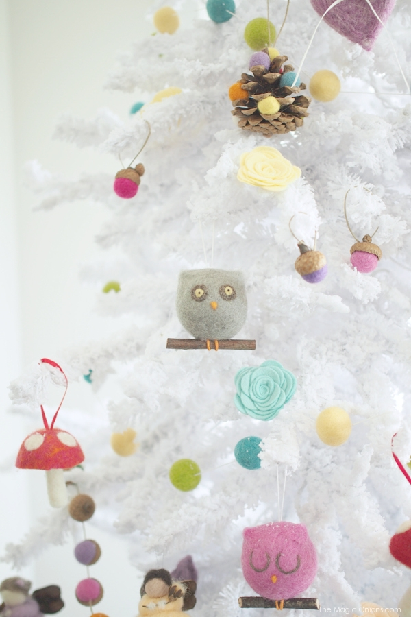 Grey Needle Felted Owl Christmas Tree Ornaments : www.theMagicOnions.com