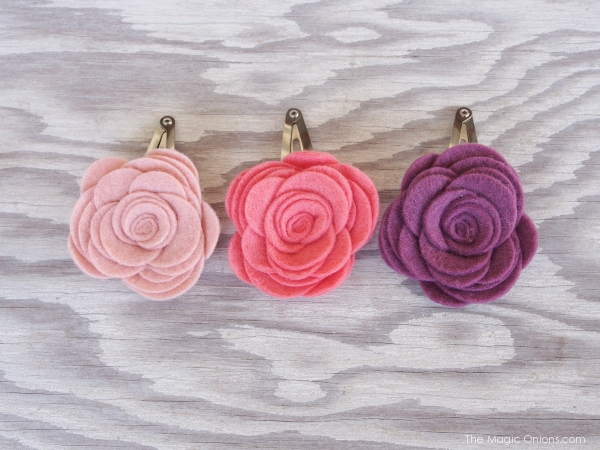 DIY Felt Flower Hair Barrettes for Spring