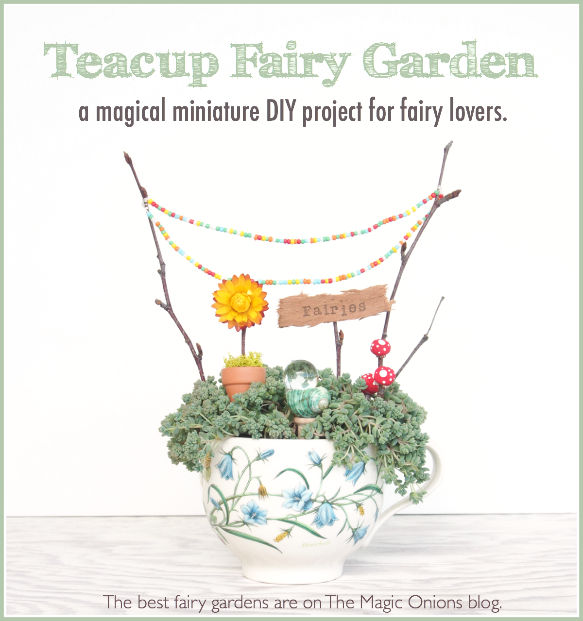 Fairy Garden in a Teacup :: DIY Tutorial :: www.theMagicOnions.com
