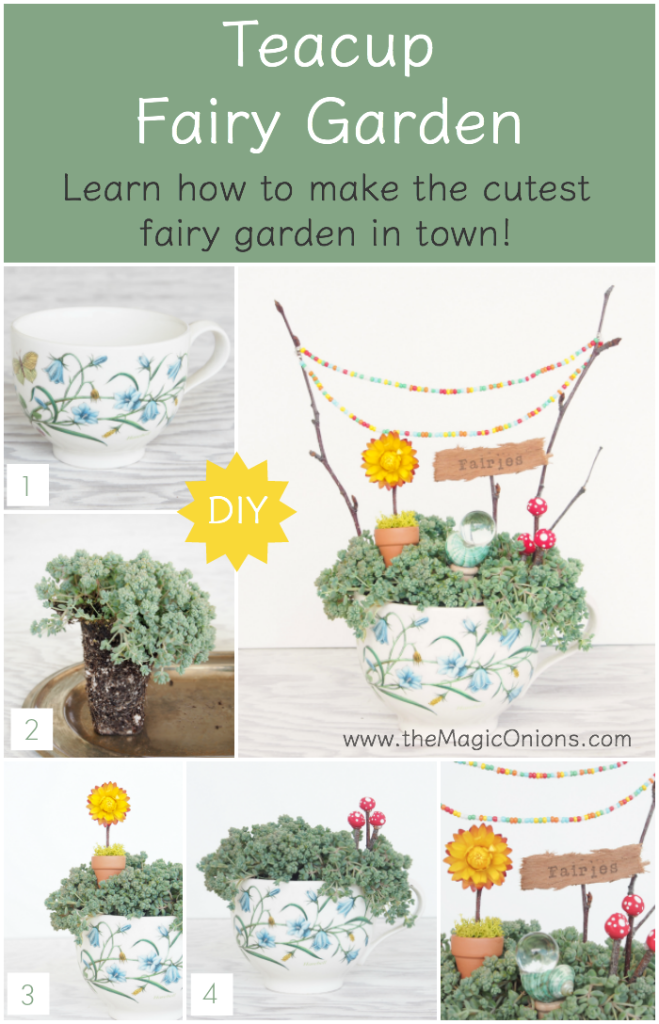 How To Make a Fairy Garden in a Teacup :: DIY Tutorial :: www.theMagicOnions.com