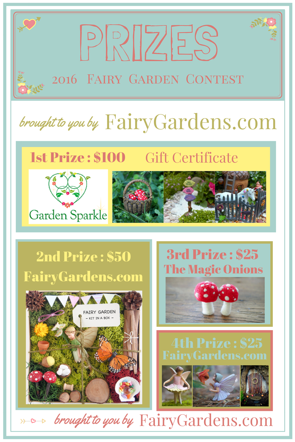 Prizes for The FAIRY GARDEN CONTEST : 2016